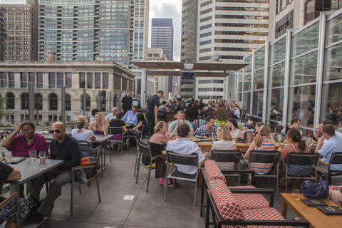 Hidden above downtown restaurant Tavern at the Park, look for rooftop hangout Tavern Tree House.