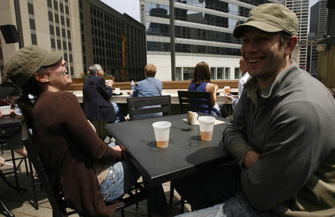 Head up a few flights of stairs at River North brewpub Rock Bottom to reach the rooftop beer garden.