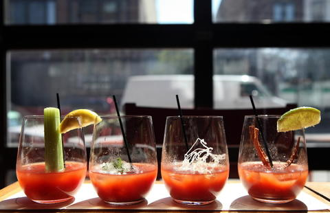 Bloody mary flight at Bin Wine Cafe (now closed). Check out the 2013 outdoor dining and drinking guide and the city's top BYOBs.