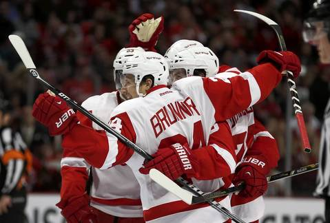 Detroit Red Wings celebrate after their first goal of the second period.