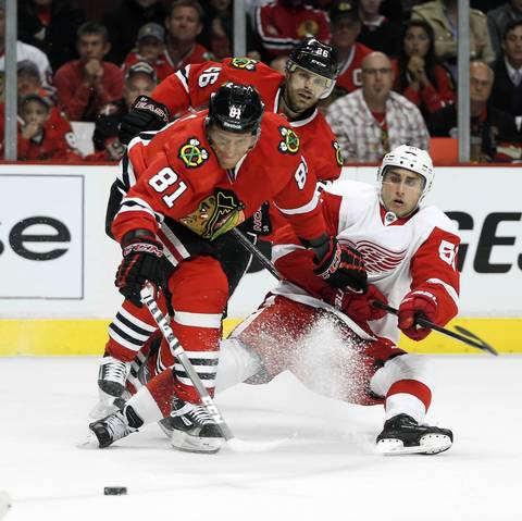 Michal Rozsival takes to the ice before the Game 2 loss.