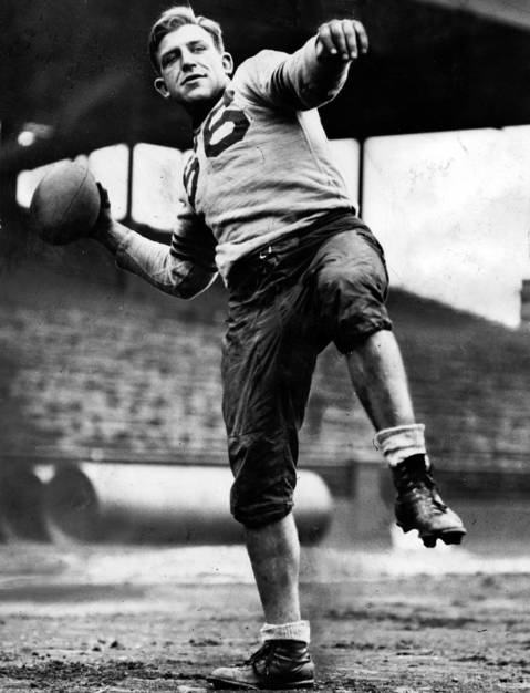 Bill Hewitt is in the Hall of Fame because many consider him the best two-way player of his era, 1932 to 1943. But he is best remembered for his stubborn refusal to wear a helmet until the league made a rules change that forced him to wear one. Hewitt played for the Bears from 1932 to 1936, where his defense saddled ball carriers with negative yardage and his creativity for trick offensive plays stymied defenses. Hewitt devised a play in 1933 NFL title game, where he took a jump pass from Bronco Nagurski and made a lateral pitch to another player who ran it in for the game-winning score against the New York Giants.