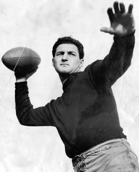 Many historians and sports writers consider Sid Luckman the Bears' all-time best quarterback. Playing from 1939 to 1950, Luckman became the game's first great T-formation quarterback when he led the Bears to a 73-0 win in the 1940 NFL Leauge game. He was league MVP in 1943, when in one game he three a record seven touchdown passes. He three five in the NFL championship game that year. Luckman threw 14,686 yards and 137 touchdowns during his career. He was elected to the Hall of Fame in 1965.