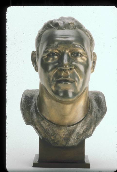 The Hall of Fame bust of Doug Atkins.