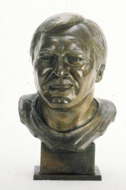 The Hall of Fame bust of Dick Butkus.