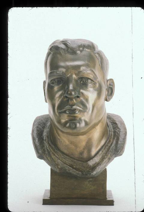 The Hall of Fame bust of George Conner.