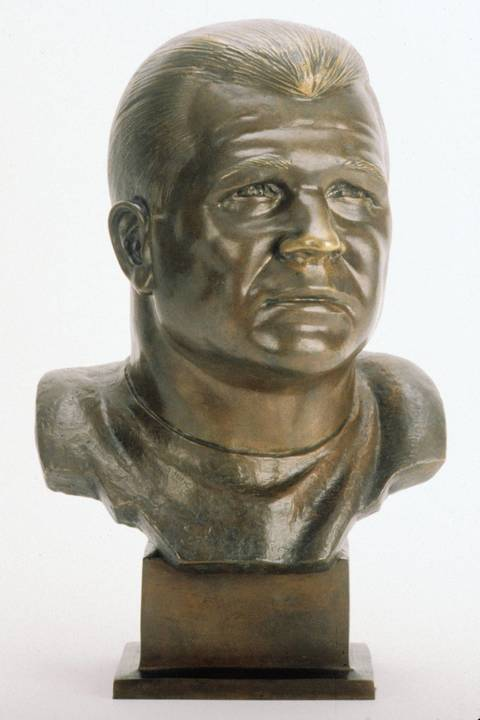 The Hall of Fame bust of Mike Ditka.