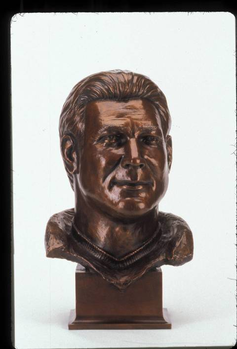 The Hall of Fame bust of Dan Hampton.