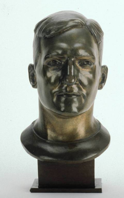 The Hall of Fame bust of Dan Fortmann.