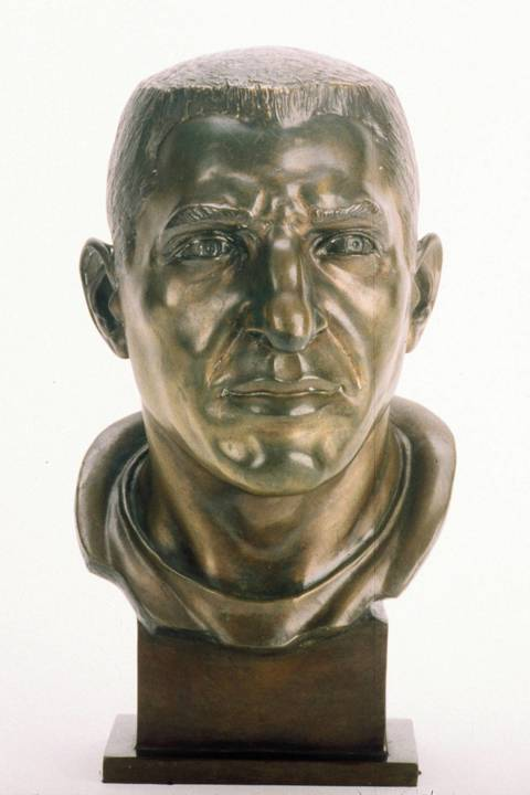 The Hall of Fame bust of Bill George.