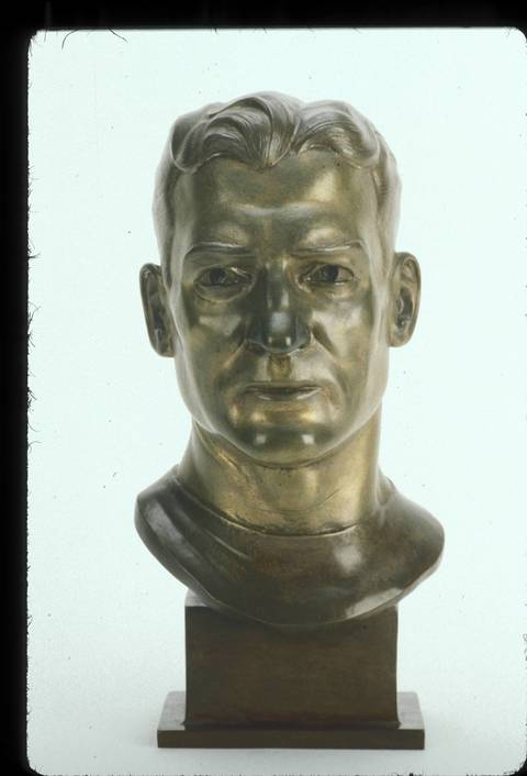 The Hall of Fame bust of George McAfee.