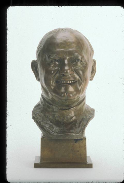 The Hall of Fame bust of George Halas.
