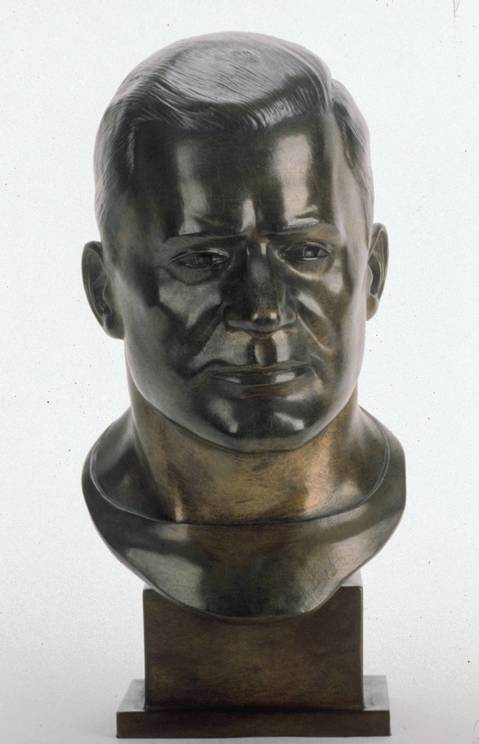The Hall of Fame bust of Ed Healey.