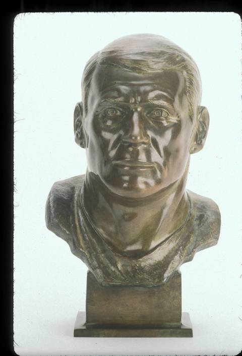 The Hall of Fame bust of Stan Jones.