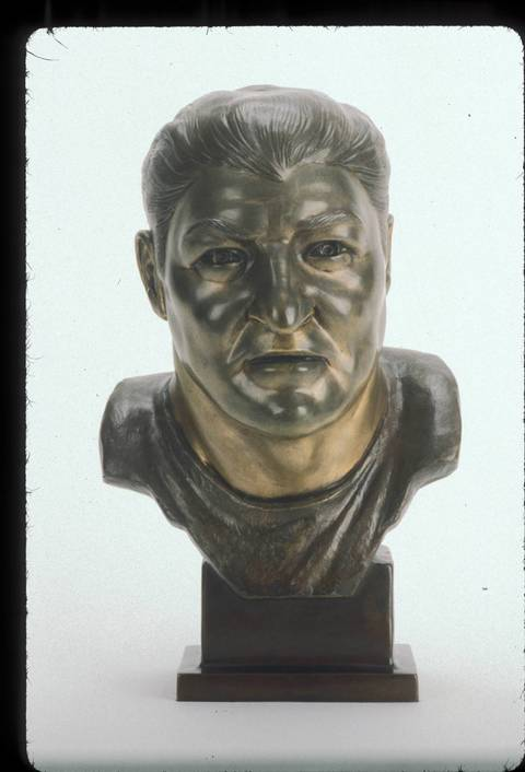 The Hall of Fame bust of George Musso.