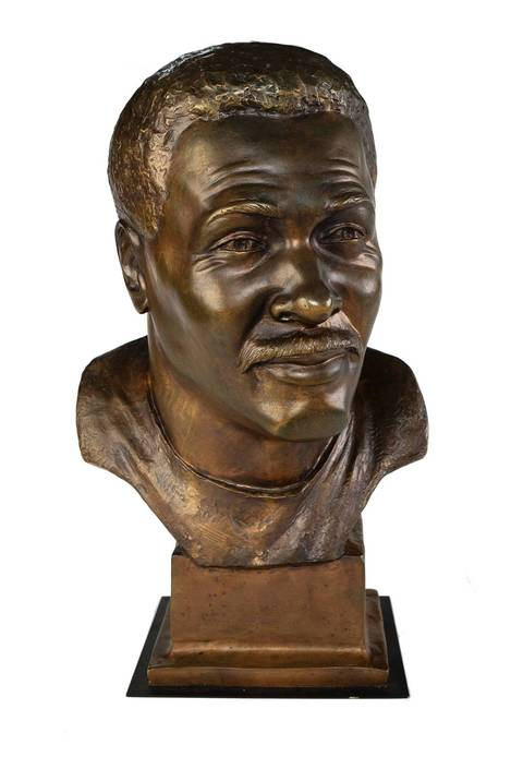 The Hall of Fame bust of Walter Payton.