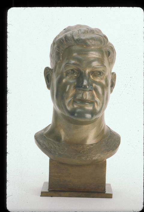 The Hall of Fame bust of Joe Stydahar.