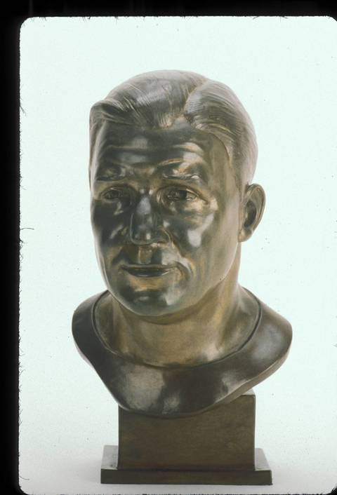 The Hall of Fame bust of George Trafton.