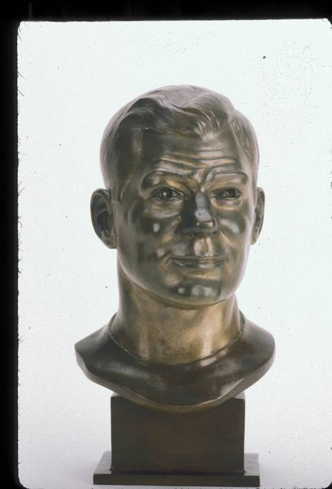 The Hall of Fame bust of Clyde Turner.