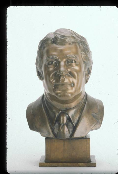 The Hall of Fame bust of Jim Finks.