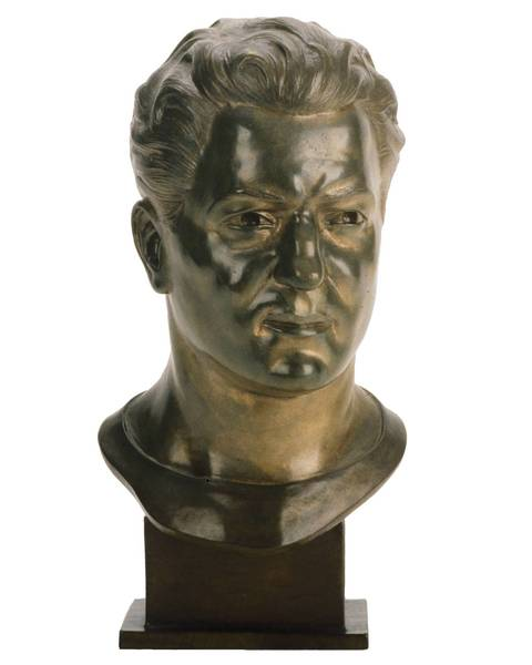 The Hall of Fame bust of Sid Luckman.