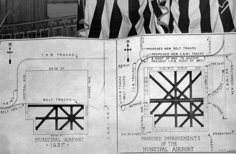 The Chicago Municipal Airport, left, as it was on September 3, 1937, and the proposed improvements, right, include the removal of the railroad track that bisected the airfield. The railroad was finally redirected in 1941.