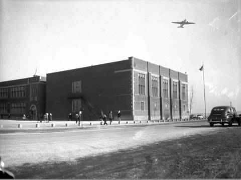 Nathan Hale Elementary School was originally less than 100 yards from two take-off runways at Chicago Municipal Airport, Jan. 13, 1948. Eventually, planes were not allowed to use the runways while school was in session.