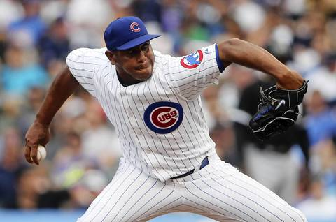 Cubs relief pitcher Carlos Marmol delivers to the White Sox in the eighth inning.