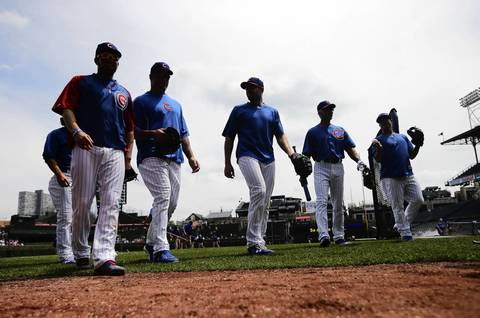The Cubs take batting practice before at Wrigley.