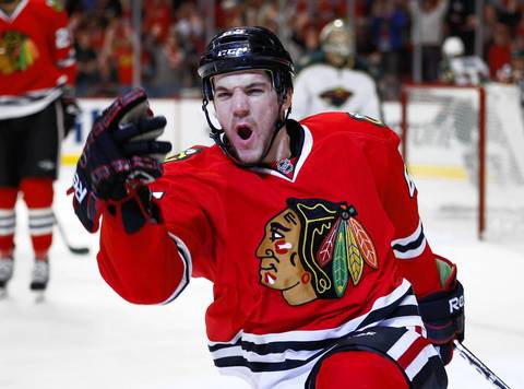 Andrew Shaw celebrates after scoring against the Wild during the second period of Game 5.