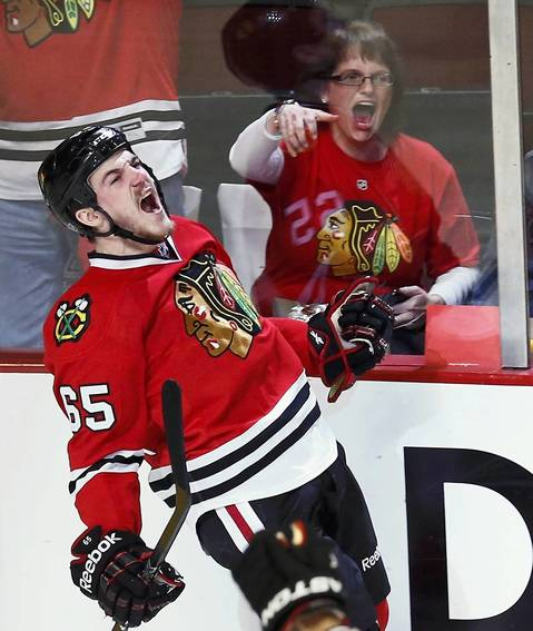 Andrew Shaw celebrates his first period goal against the Kings in Game 2.