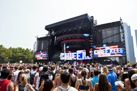 Fans gather cheers during Chief Keef's performance at Lollapalooza in Grant Park.