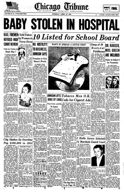 April 28, 1964, Chicago Tribune with news of Paul Joseph Fronczak's kidnapping.