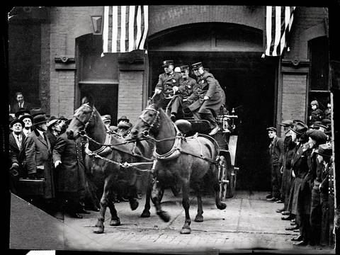 Buck, Beauty, Teddy and Dan thought it was just another fire, but Chicago's last four fire horses were really being sent on a final, ceremonial run in 1923. Once they galloped out of the firehouse on the planned false alarm, a new truck was backed in. Real alarm bells had been sounding the end of the fire horse for years, as gas-powered trucks were proving to be faster and more efficient, to say nothing of the waste situation.