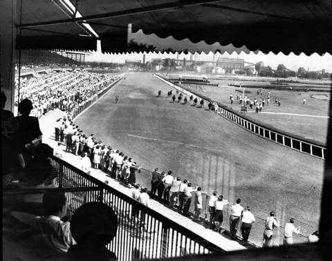 The view from the clubhouse during the 1947 opening day at Hawthorne Race Course in Stickney, Ill. in September. A crowd of 13,859 attended.