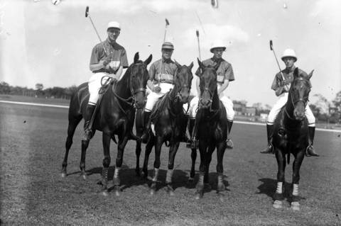 A group of North Shore polo players are John Towne, from left, John Borden, B.M. Rader and Laurance Armour of the Onwentsia Club team out of Lake Forest, Ill. circa 1920. In 1896, the Onwentsia Club on North Green Bay Road started one of the first polo clubs in the country. In 1933, Lake Forest was one of the top polo towns, with cavalry officers from Ft. Sheridan joining North Shore residents for matches at the club.
