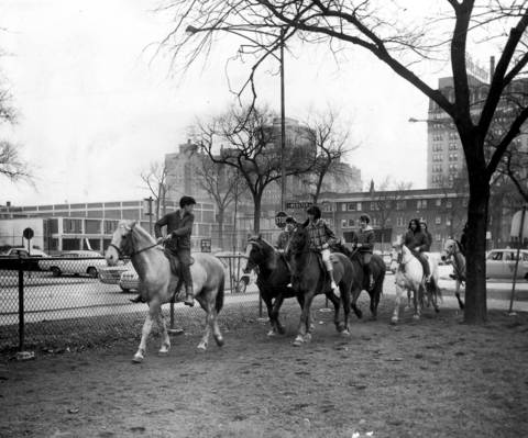 New Parkway Riding Stables, pictured here at 2153 N. Clark Street, furnished horses for rides in the park and taught classes, such as this one on April 12, 1966. The New Parkway Stables had been in business since the 1890s and still sent out some 600 riders every weekend to Lincoln Park in 1966. New Parkway was the last publicly used city stable. It closed in October, 1967.