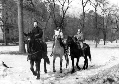 Horseback riders take advantage of warm, sunny weather to use riding trails in Lincoln Park on Feb. 19, 1967. Temperatures in the high 30s brought out Chicagoans for walks in the parks and visits to the zoo.