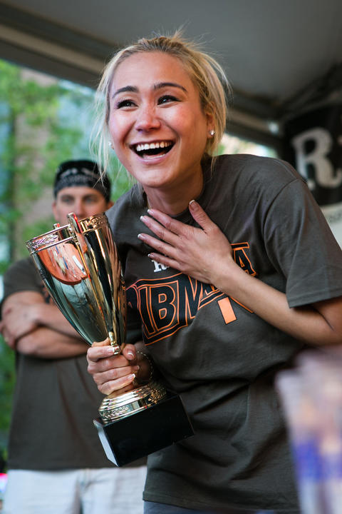 Contestant Miki Sudo wins the $2000 grand prize in the Ribmania eating contest at Ribfest. Held in Northcenter at the intersection of Lincoln Ave and Irving Park, photographed on Friday, June 7, 2013. (Hilary Higgins/RedEye)