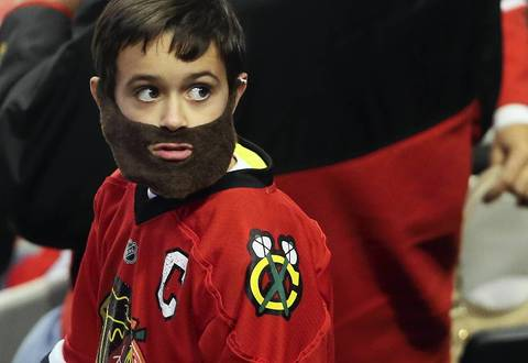 A young Blackhawks fan sports a playoff beard in Game 2 of the Hawks-Kings playoffs at the United Center.