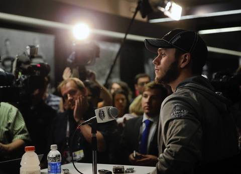 Chicago Blackhawks center Jonathan Toews takes questions on media day before the Stanley Cup Final at the United Center.