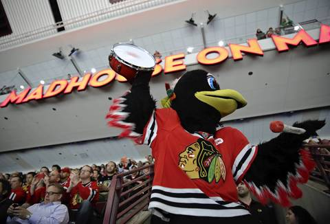 Tommy Hawk with fans before Game 1 started.