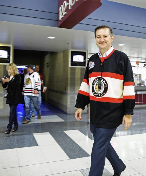 Cubs chairman Tom Ricketts exits after the Blackhawks 4-3 win in three overtimes.