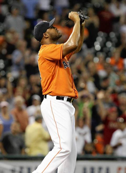 Astros closer Jose Veras celebrates after getting the final out.