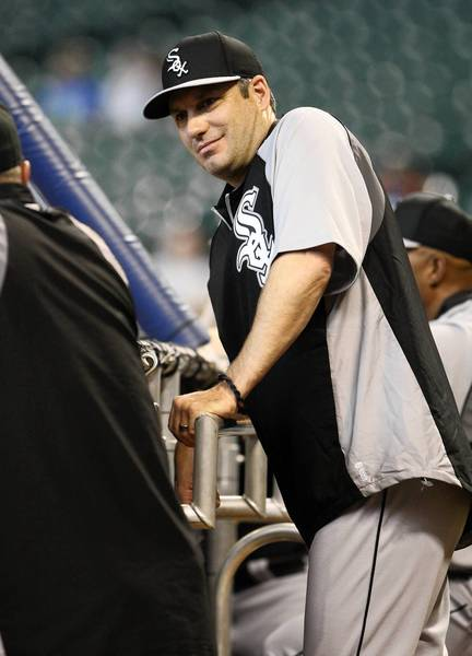 White Sox manager Robin Ventura watches batting practice.