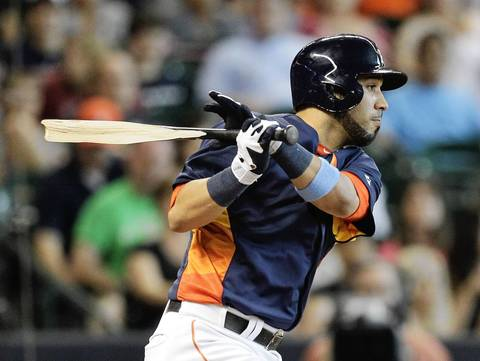 The Astros' Marwin Gonzalez breaks his bat as he grounds out in the sixth inning.