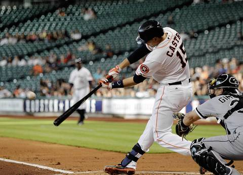 Jason Castro of the Houston Astros doubles in the first inning, scoring Jose Altuve from second base.