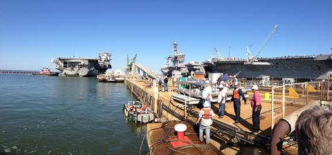 USS Enterprise pulls into Pier 2 at the Newport News shipyard Thursday morning.