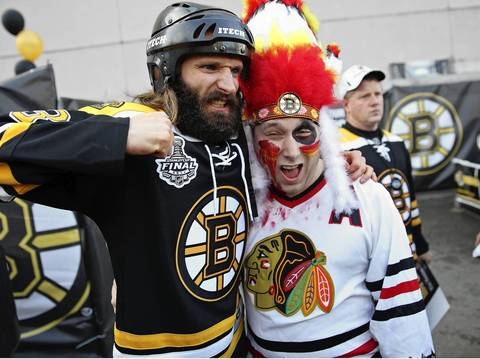 Luciano Rinaldi and his friend Steve Parankevich outside of TD Garden.