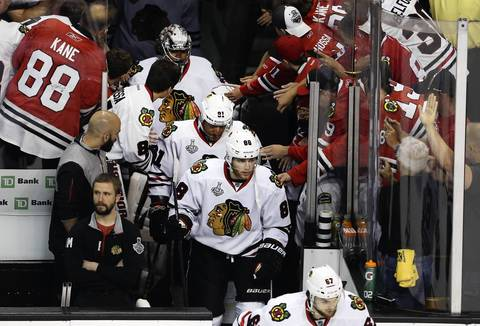 Patrick Kane, Marian Hossa and goalie Corey Crawford take the ice for Game 6.